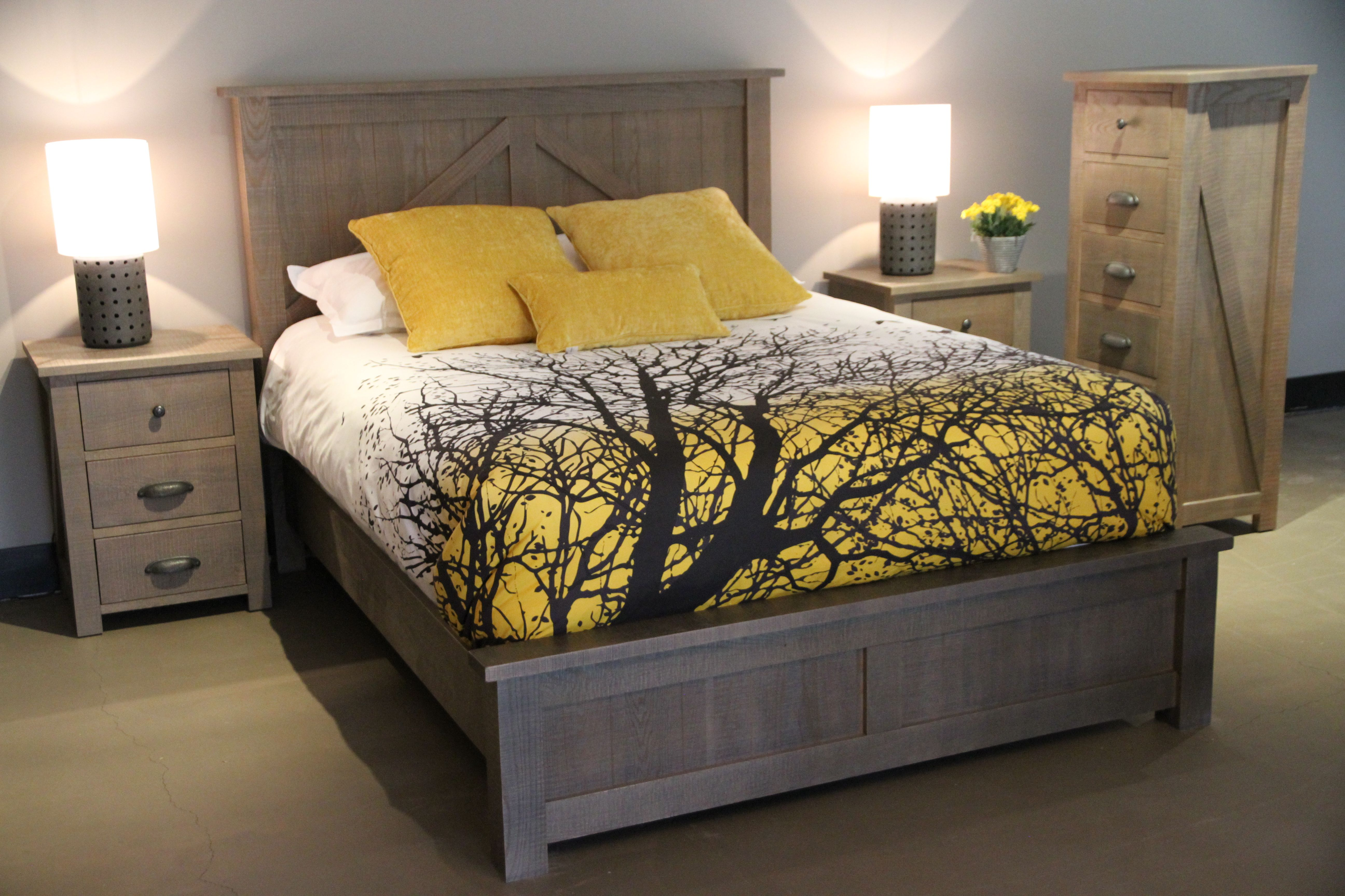 Woodworks Farmhouse bedroom. Solid wood, Canadian made and