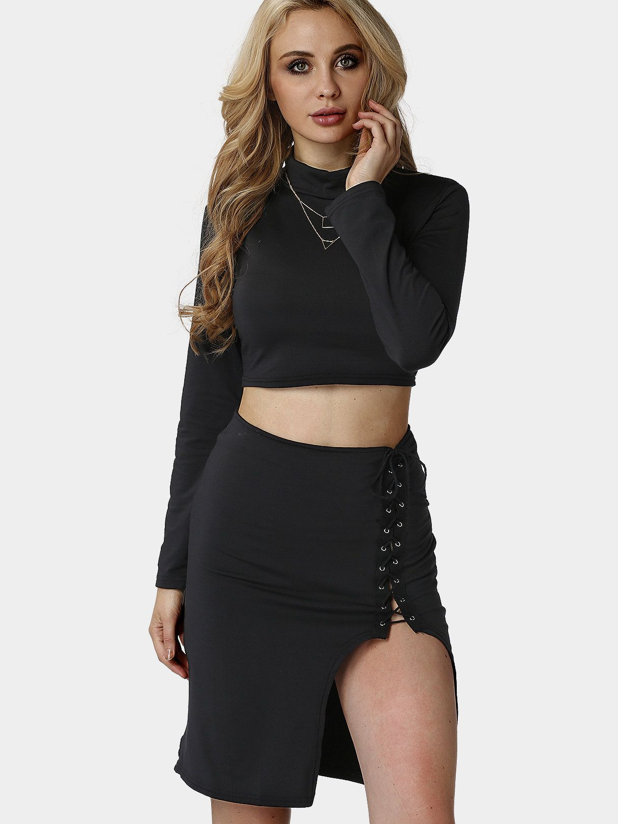 186f1c81f62f3 Black Long Sleeves Top and Split Lace-up Skirt Co-ord - US 7.95 in ...