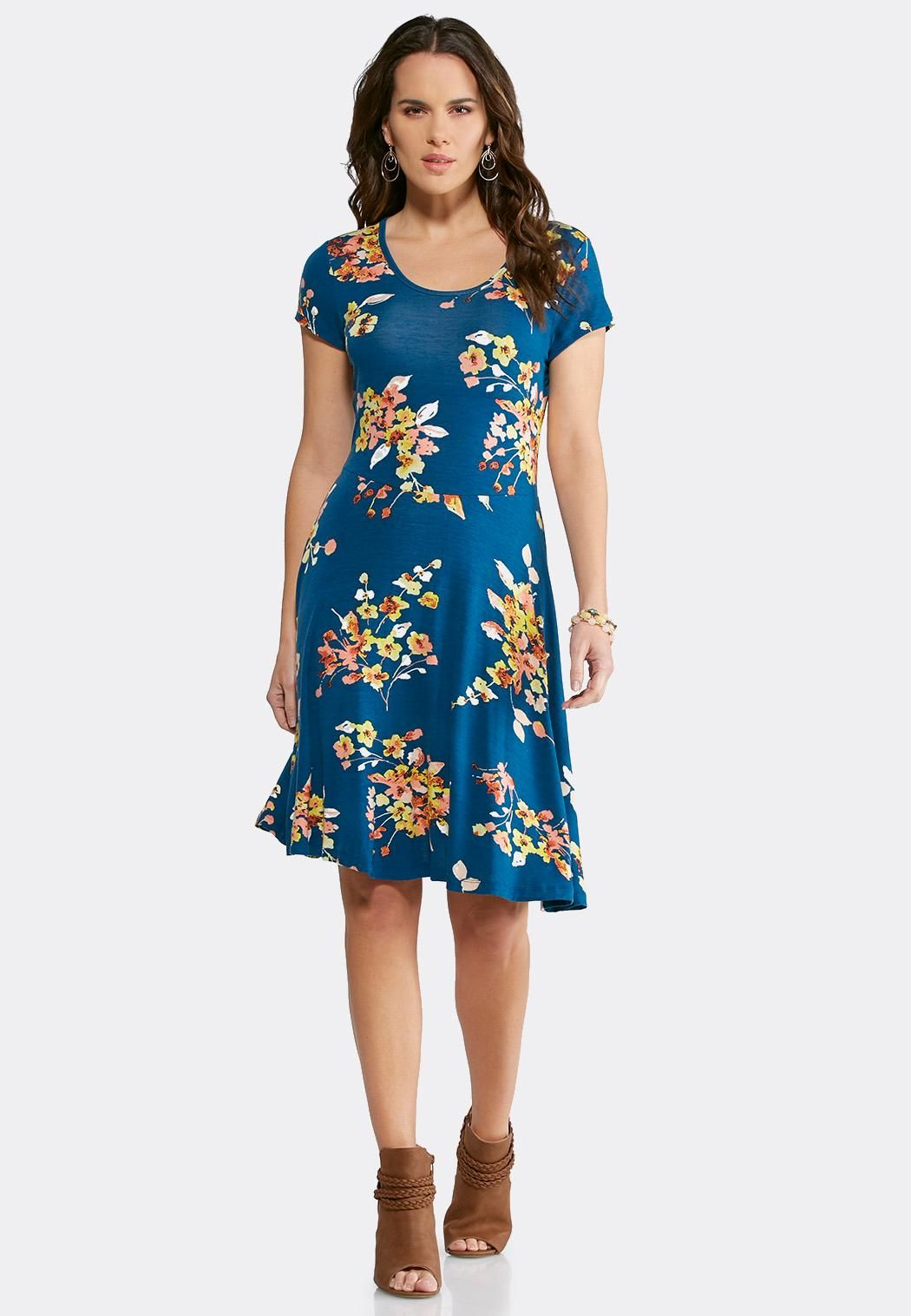 e7b9ac9dad28 Blue Floral Fit And Flare Dress Junior/Misses Cato Fashions ...