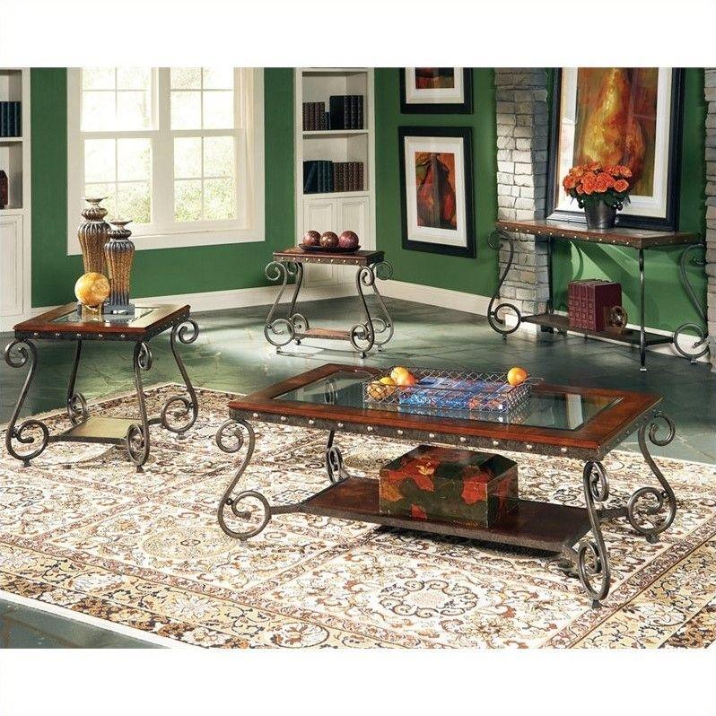 Steve Silver Company Ellery 3 Piece Coffee Table Set in Cherry | Coffee table, 3 piece coffee ...
