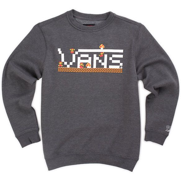 edbc08bd8a Vans Boys Nintendo Mario Crew Sweatshirt Charcoal Heather
