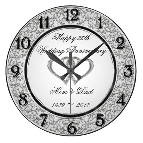 25th Wedding Anniversary Wall Clock Zazzle Com 25th Wedding Anniversary 25th Anniversary Gifts Clock
