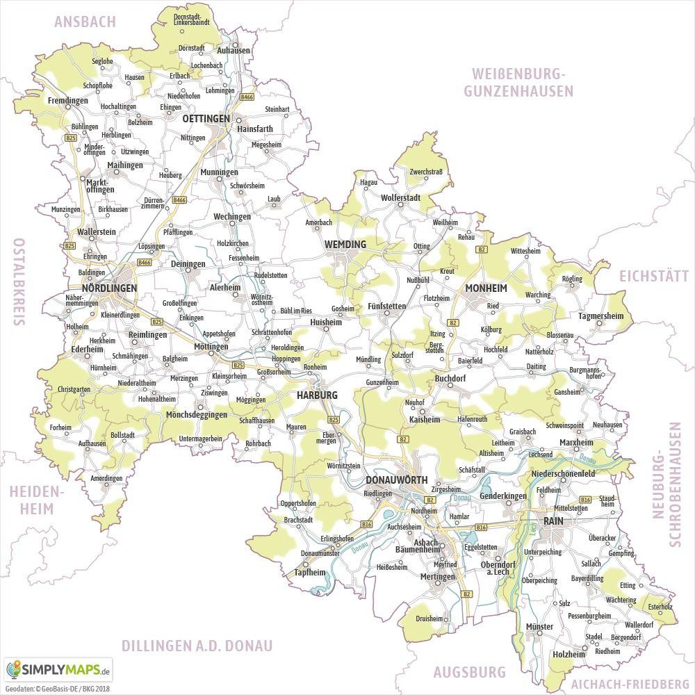 Landkreis Augsburg Karte.Karte Landkreis Donau Ries Kostenloser Download