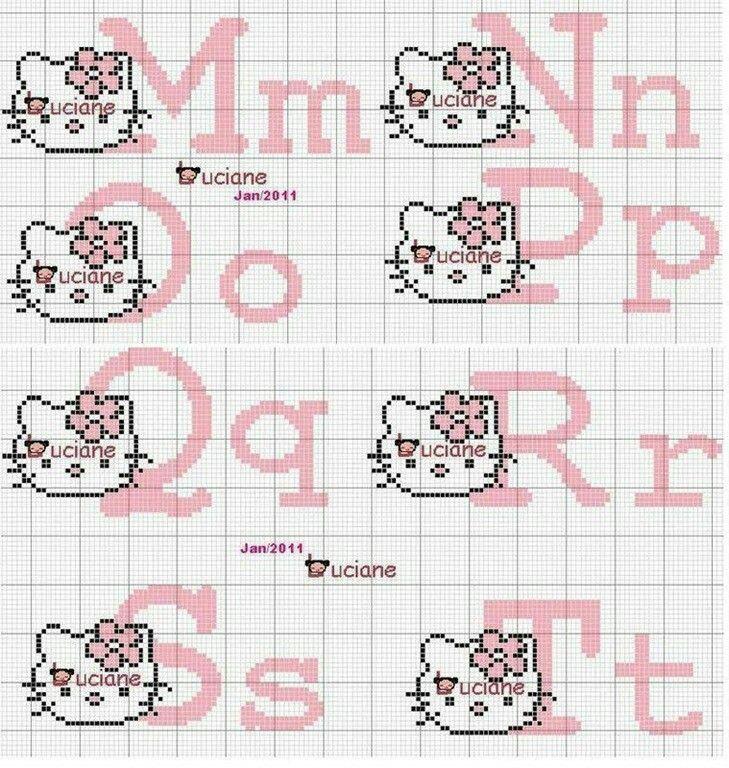 Letras Kitty 2 | Bordados | Pinterest | Cross stitch alphabet ...
