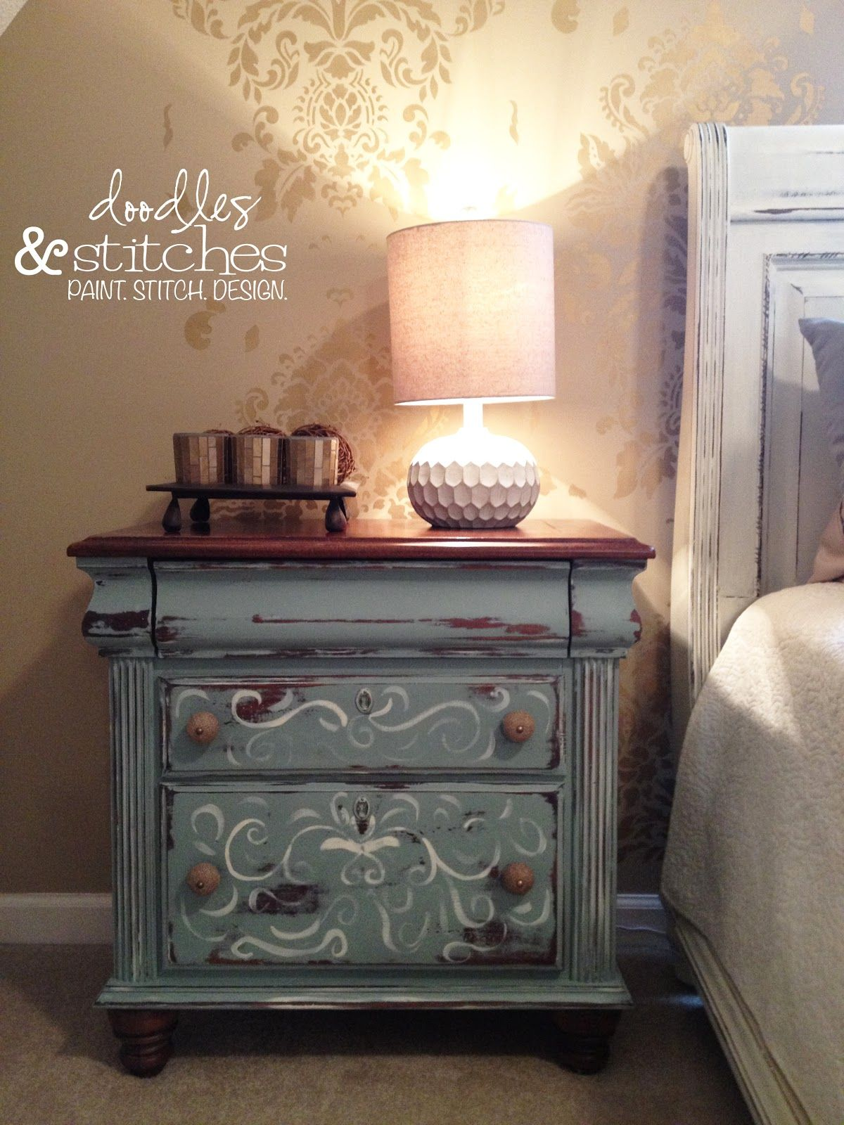 Chalk Paint Hand Painted Nightstand Gray Blue