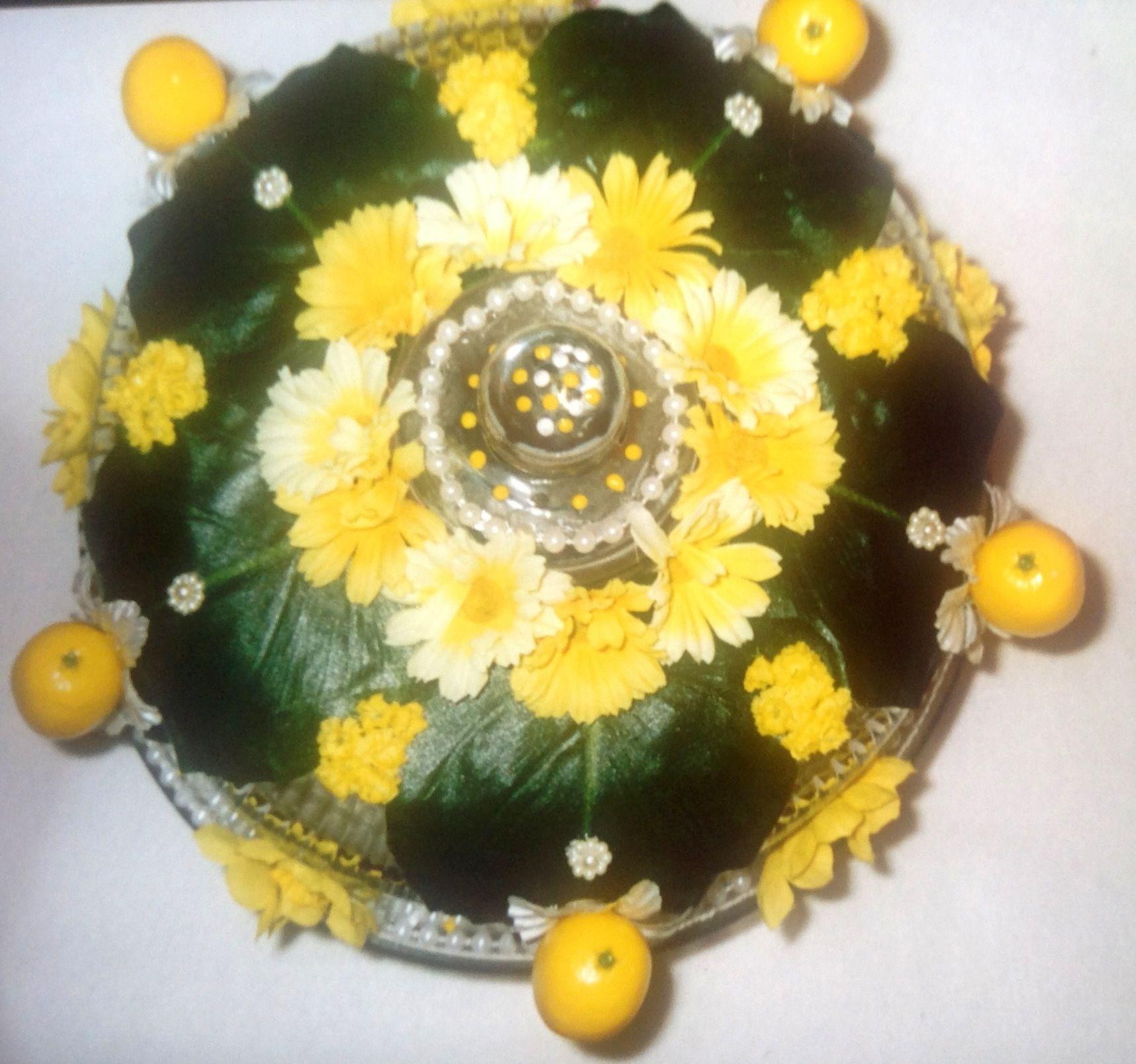 """Lemon Swirl "" cake plate done in silk flowers pearls and artificial Lemons"