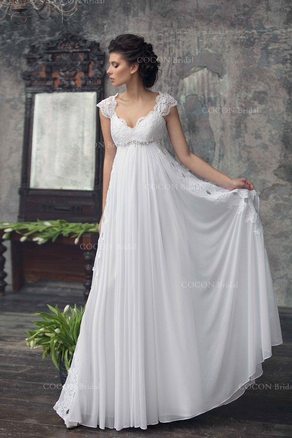 Wedding Dress In Bohemian Style Designer Gown Wedding Gown Etsy In 2020 Empire Wedding Dress Empire Waist Wedding Dress Bohemian Wedding Gown