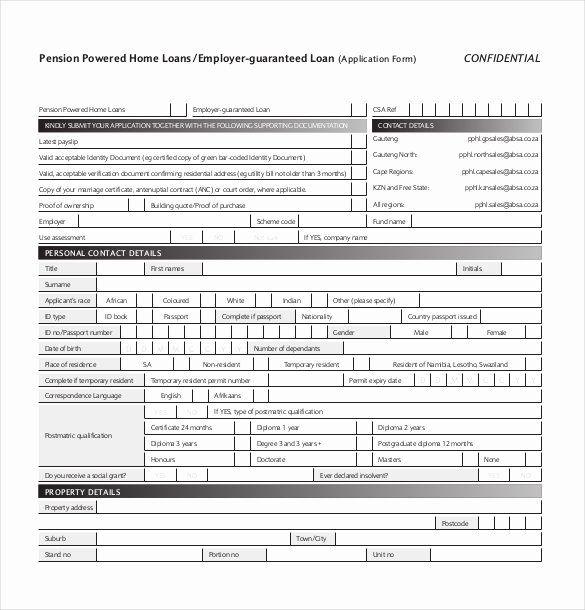 Personal Loan Application form Template Fresh 10 Loan