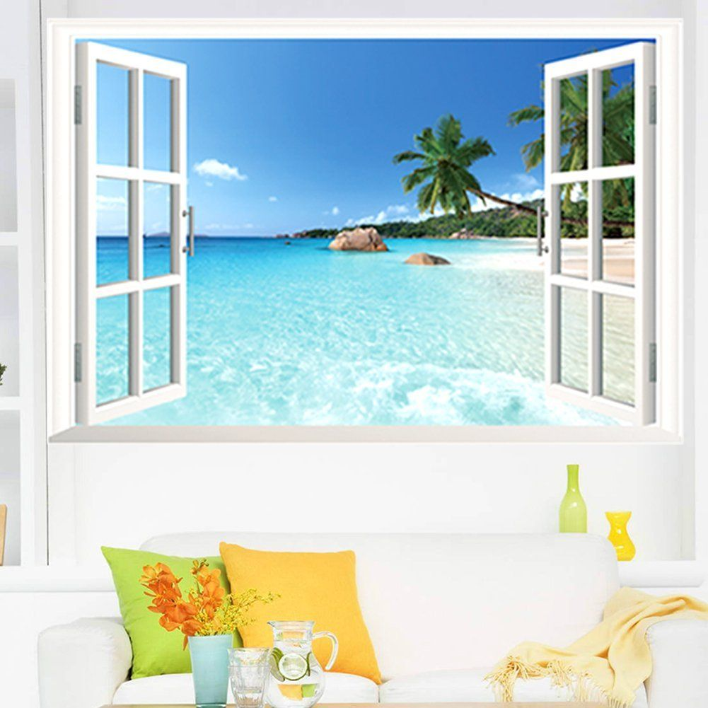 Zooarts adhesivo mural de vinilo dise o 3d de ventana con for Papeles murales con diseno de paisajes