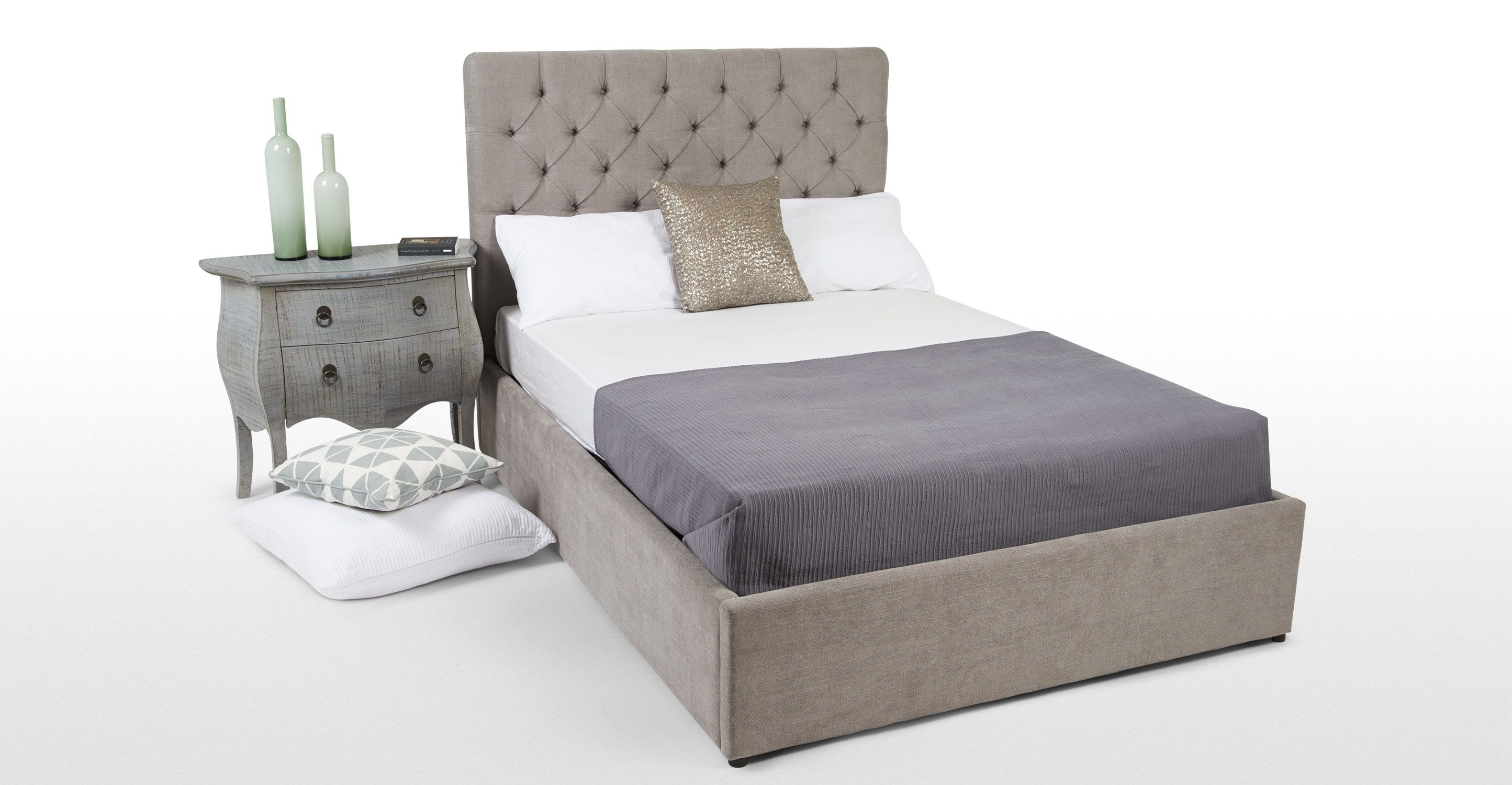 skye super kingsize bed with storage owl grey from made com