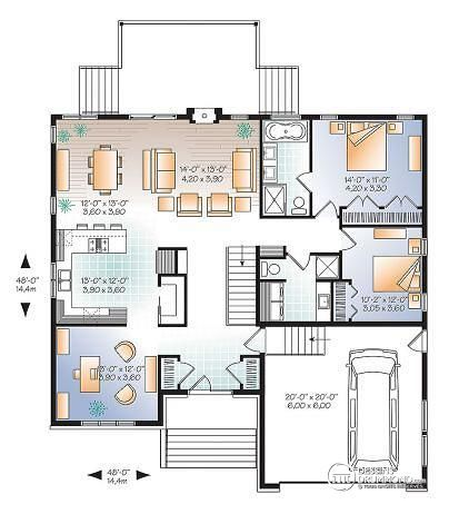 W3280-V1 - Plan de Maison urbainn, sbain privé aux maîtres, bureau