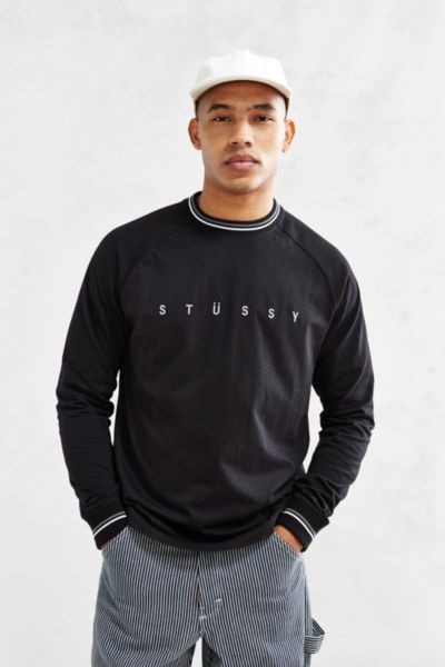 f68f5a4975b Stussy Stripe Collar Long-Sleeve Tee - Urban Outfitters