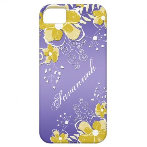 iPhone5 Abstract Yellow Floral Purple Background