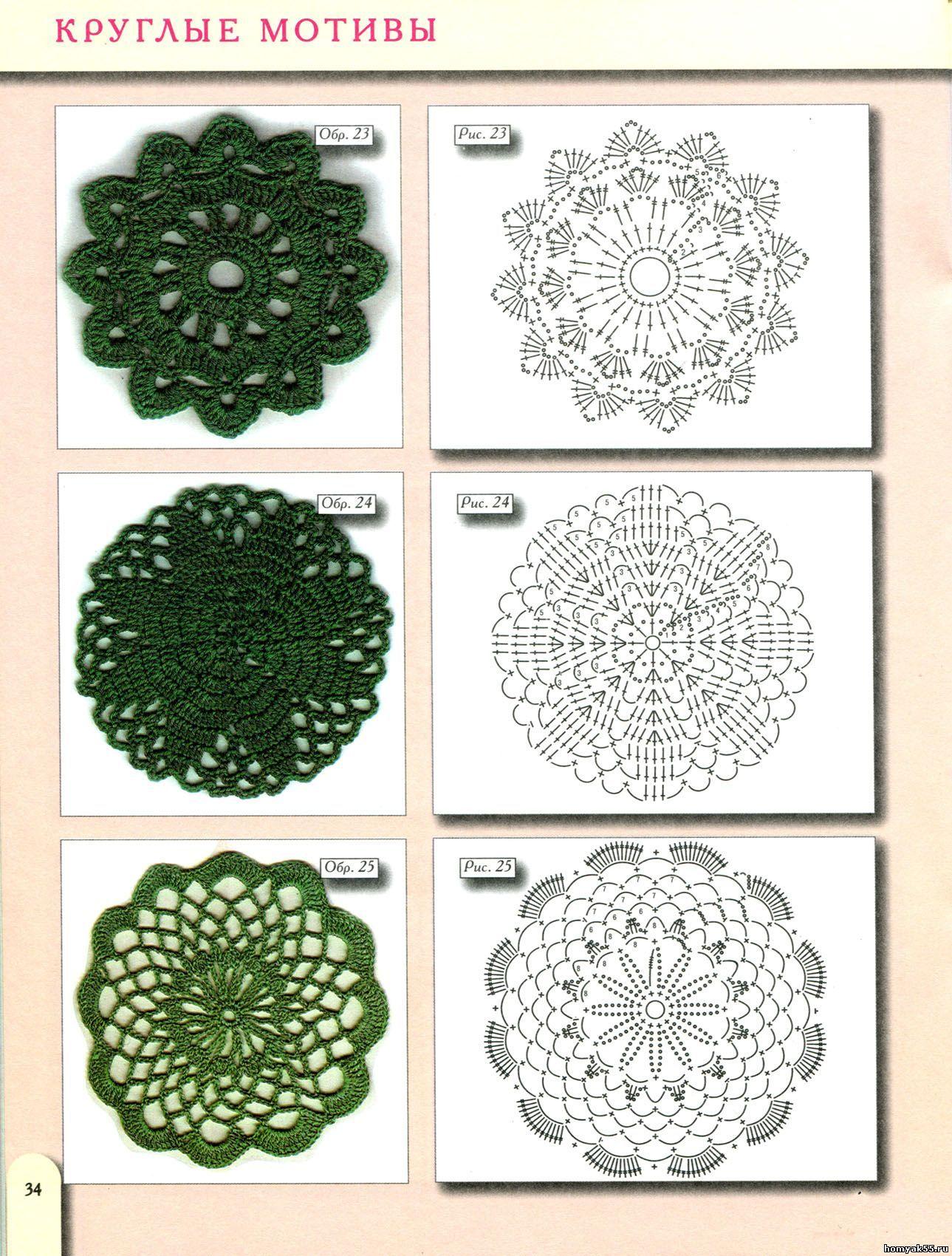 los diagramas de los círculos de crochet | Accesorios de crochet ...