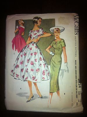 Vintage-Sewing-Pattern-1956-Sz-12-2-dresses-full-slim-skirt-Complete