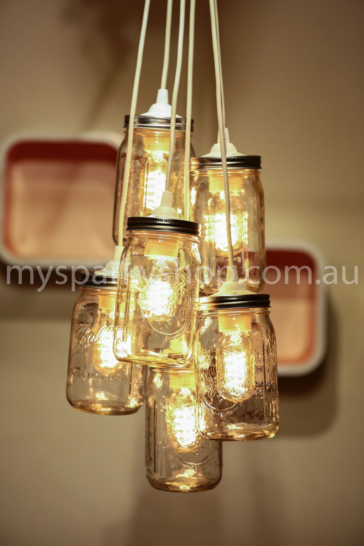 6 Jar Chandelier Medium Wide Mouth #chandelier #jarlights #ballmason #lights #lightfitting #vintage #retro