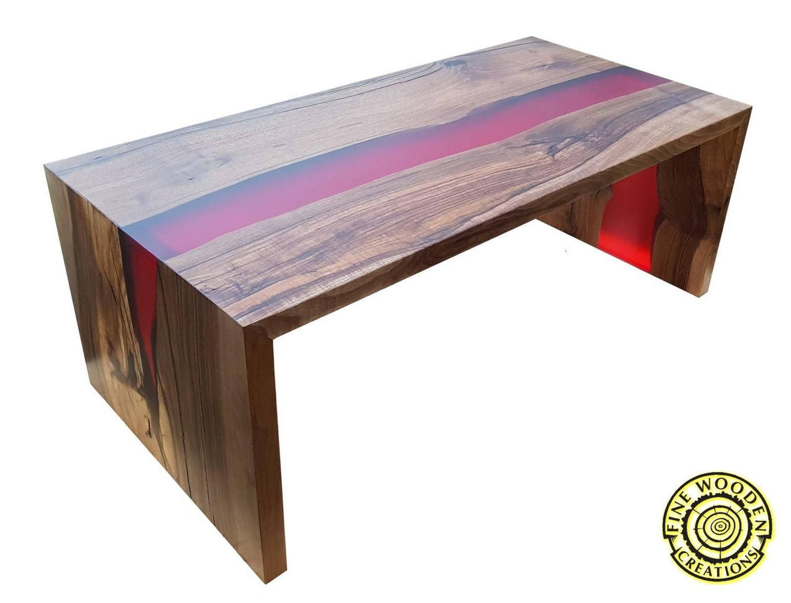 Table Basse De Riviere Double Cascade Avec La Riviere De Resine Rouge Red Coffee Tables Resin Table Coffee Table