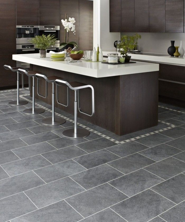 gray tile floor kitchen