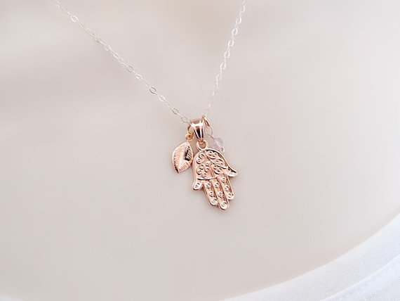 Rose gold hamsa necklace initial necklace personalized necklace personalized rose gold hamsa necklace custom birthstone charm hamsa hand charm rose gold jewelry mothers necklace sister necklace aloadofball Choice Image