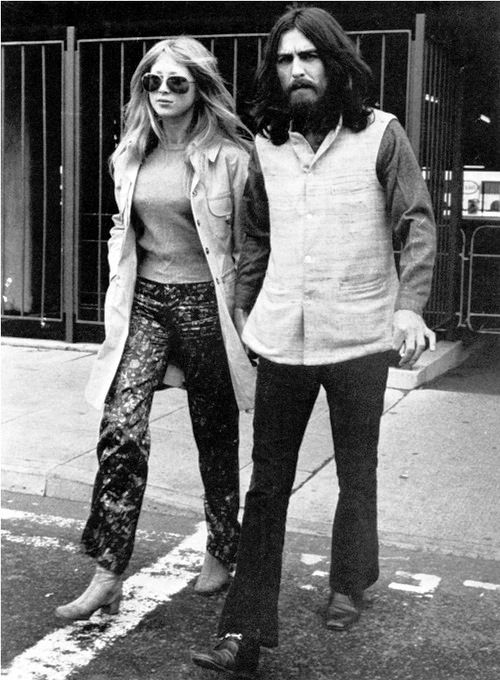 2nd September 1969. George and Pattie leaving Heathrow Airport after seeing off Bob Dylan on his return to the USA.
