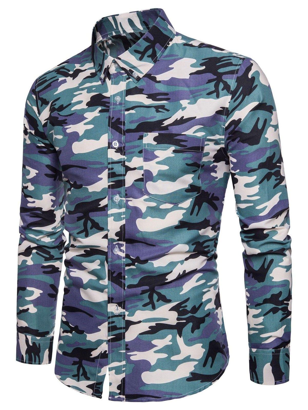 Rrive Mens Slim Fit Printing Long Sleeve Button Down Casual Shirt Shirts