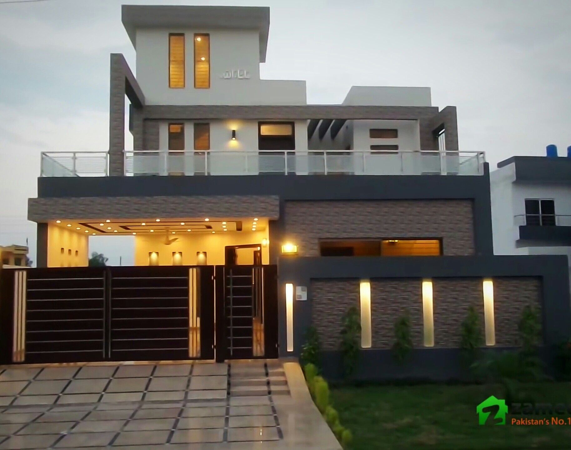 Pin By Azhar Masood On Elevation Modern Compact House Gate Design