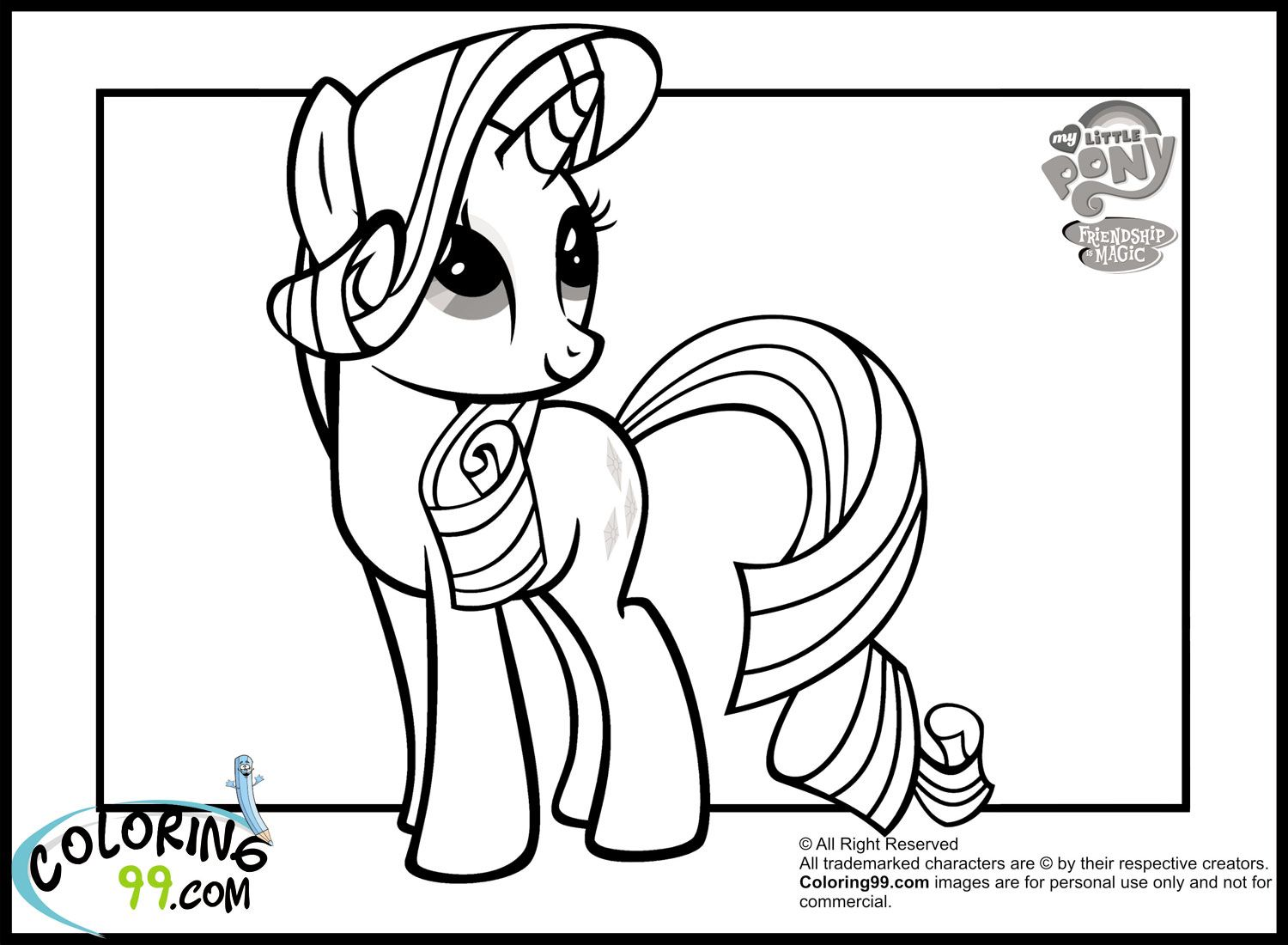 My little pony coloring pages rarity in dress - Rarity Coloring Page