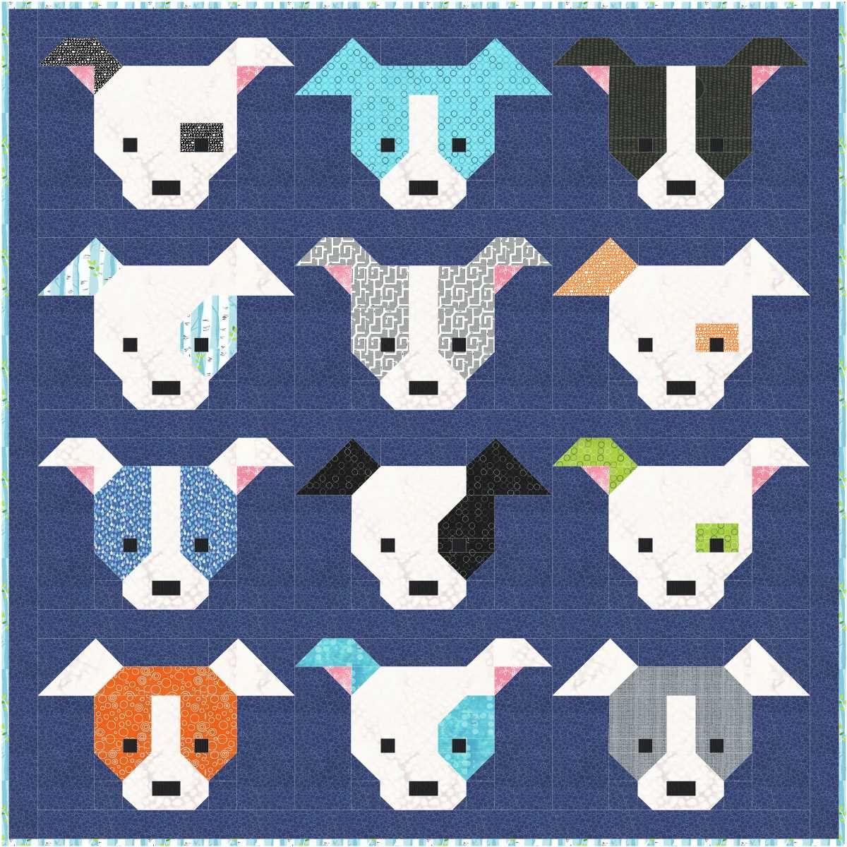 Dog Gone Cute Quilt Pattern Pdf Instant Download Modern Patchwork