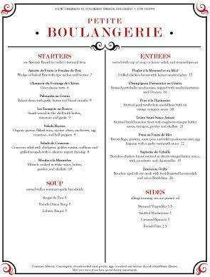 brasserie menu french menus menu design pinterest menu menu