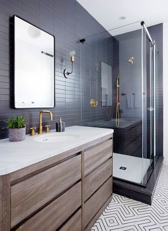 Inspiration See Gorgeous Cement Tile Designs In A Variety Of Spaces Big Bathrooms Modern Bathroom Design Bathroom Design Black