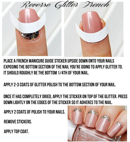 Pink With Glitter Reverse French Nails Of The Day Miss Natty S Beauty Diary Reverse French Manicure Reverse French Nails French Manicure
