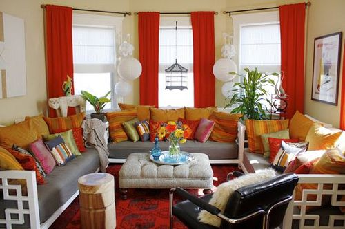 Moroccan living room with sofas Colour Red Interiors Pinterest