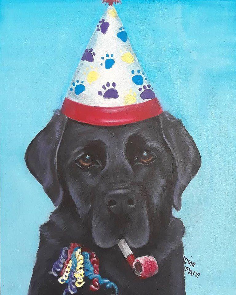 Black Labrador Happy Birthday Card Original Painting Of A Etsy Happy Birthday Labrador Black Labrador Retriever Black Labrador