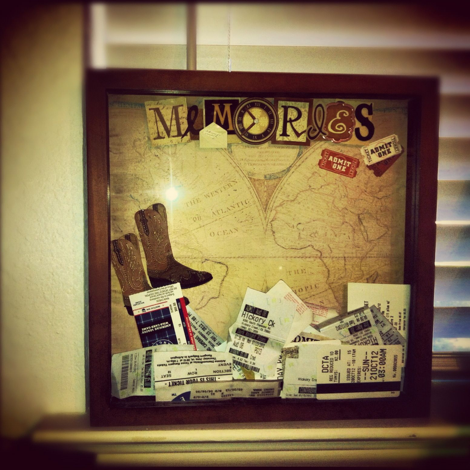 Decorated shadow box filled with old movie tickets, sports tickets ...