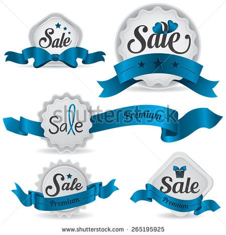 Blue ribbon glossy retro and vintage sale badges label tag for - sale tag template