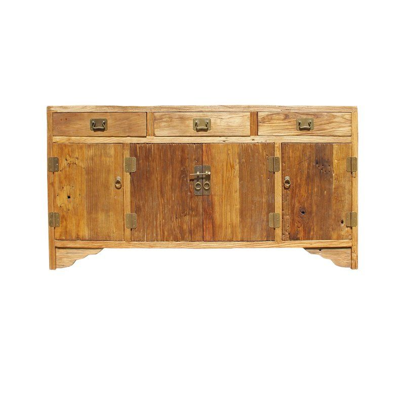 Chinese Rough Drift Wood Hardware Sideboard Buffet Table