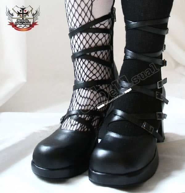 """Gothic Mourn Punk Lolita 8 Strap Buckle 3"""" Heel Boot #RTBUselect #Strappy #Party"""