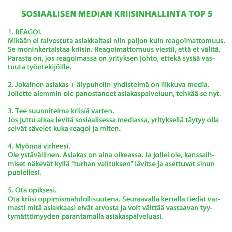 Sosiaalisen median kriisinhallinta top5