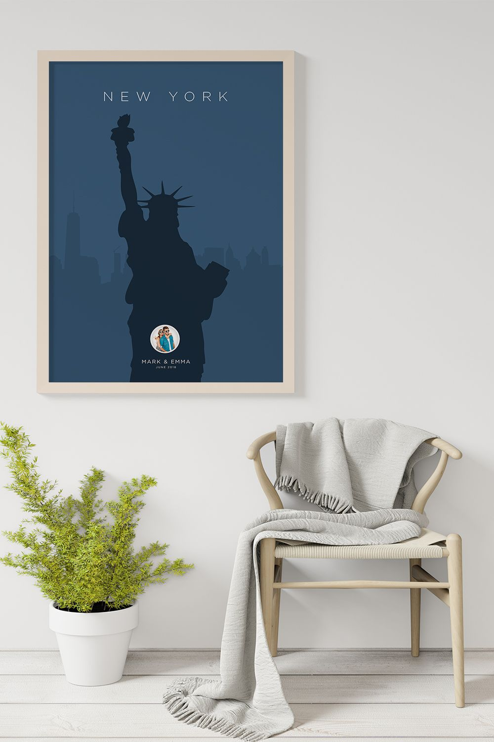New York Statue of Liberty Landmark Personalized Poster. Each personalised print that we create is truly unique and is customised just for you. No one will ever have the same poster that we design for you! Simply, add your names, month of the travel, photo and choose your favourite colours. #travelposters #travelprint #citymap #travelideas #traveldesign #traveldreamseekers #artprints #travelguides #wallartprint #mydomainetravels #newyorkposter #personalizedposter #travelnewyorkcity