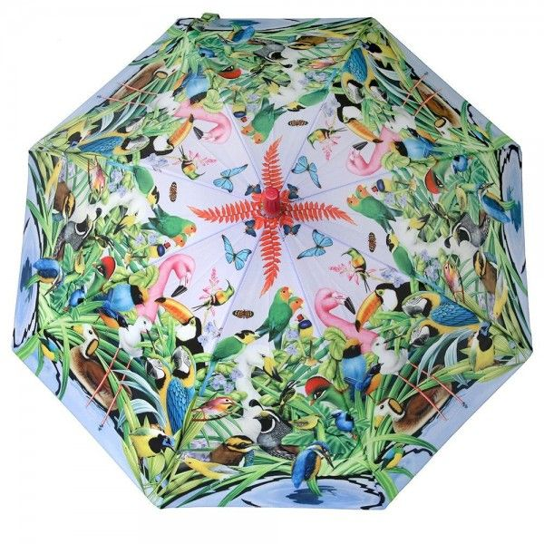 Click on the image to find out this #umbrella printed with paradise #birds. https://www.rosemarie-schulz.eu/en/kids-umbrellas/437-children-umbrella-birds.html