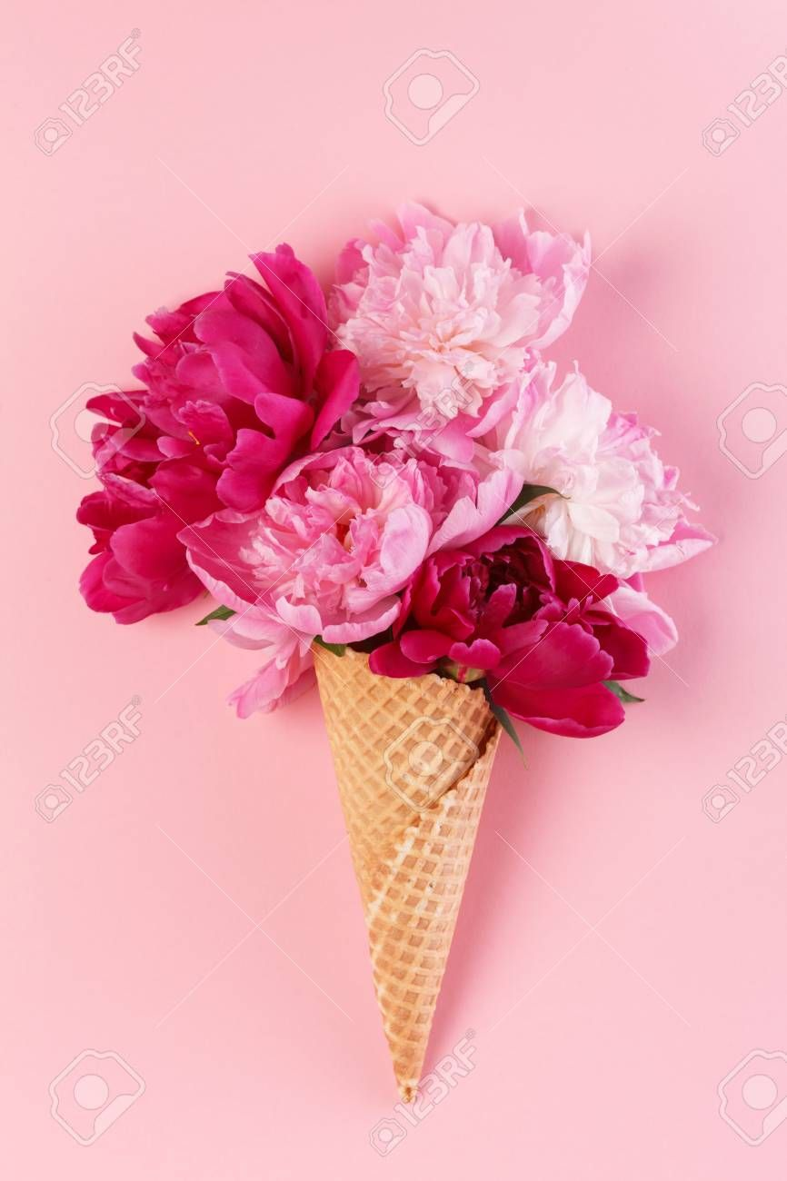 Peony Flowers In The Waffle Cone Flower Cones Flower Art Flowers