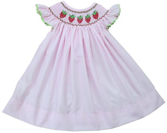 Smocked Strawberry Summer Angel Sleeve Bishop Dress - Light Pink