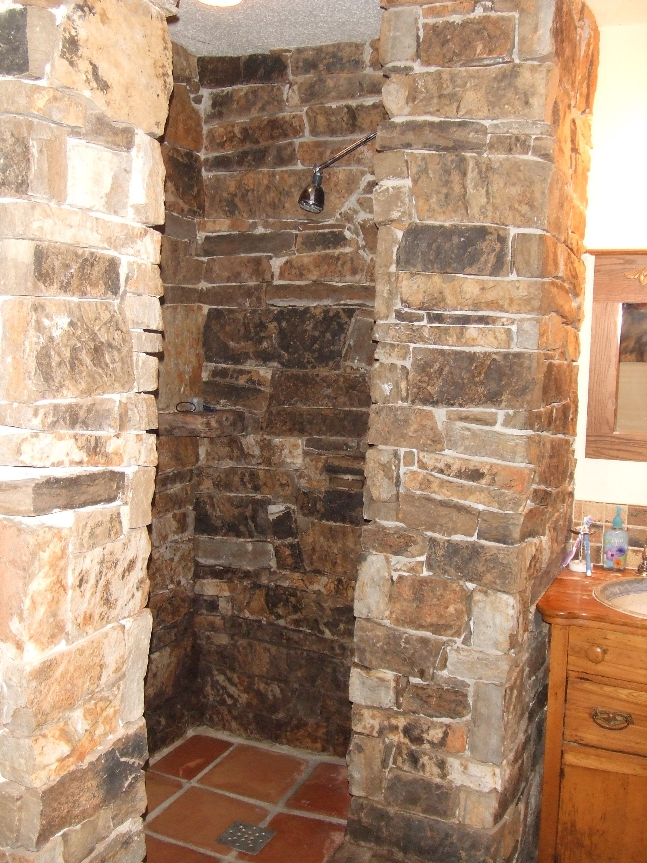 Our Rock Shower Rock Shower Rustic Bathrooms Stone Shower