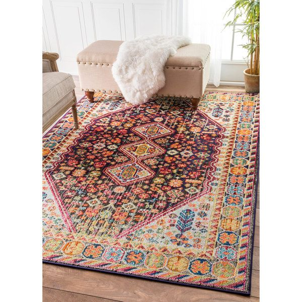 nuloom distressed traditional flower persian multi rug 5u00273 x - Nuloom Rugs