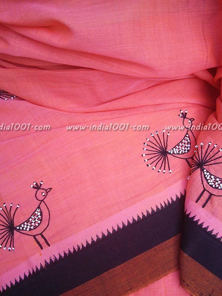 Elegant Mangalgiri Cotton Saree With Hand Embroidery Designs