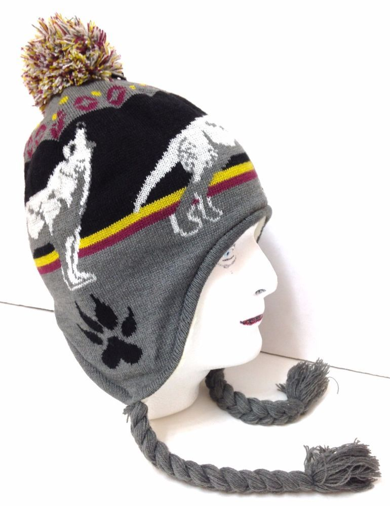 93273709f0c1c new WOLF  COYOTE  HOWL PERUVIAN POM BEANIE Men Women Winter Knit Ski Chullo  Hat  Unbranded  Beanie