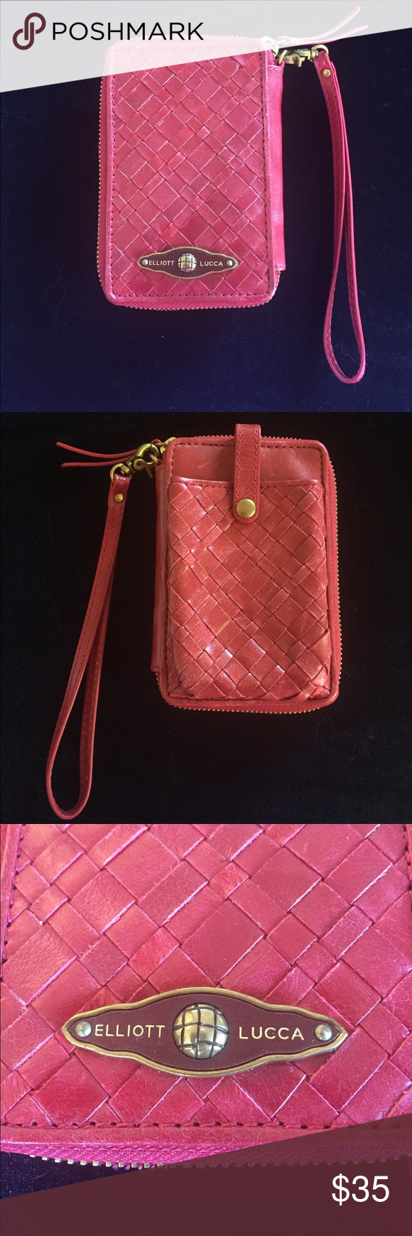 Elliott Luca Red Leather Wristlet Wallet Elliott Luca Red Leather Wristlet Wallet woven leather with six credit card slots, a change purse and dollar bill holder also an ID slot. Also has a pocket for a cell phone that snaps shut. The pocket fits an iPhone 5 & 6 without snapping shut. It is in very good condition has two small scratches on the side with the phone pocket (see last photo). Elliott Lucca Bags Clutches & Wristlets