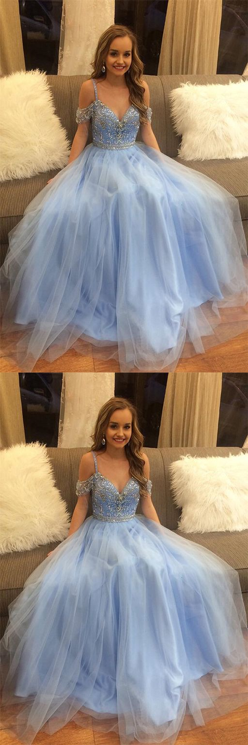 Gorgeous beading blue tulle long a line puffy prom dressgraduation