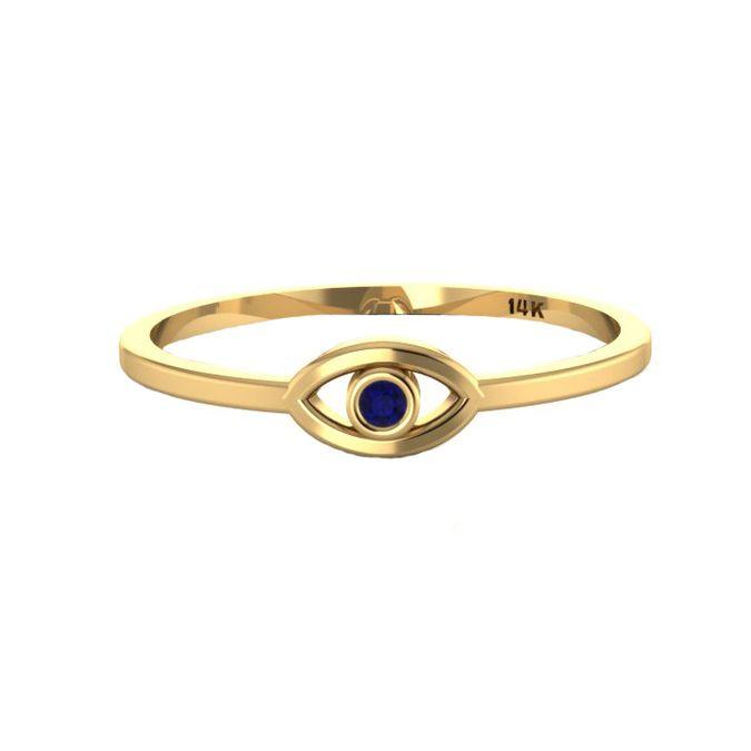 14K Gold Blue Sapphire Evil Eye Ring | KTcollection