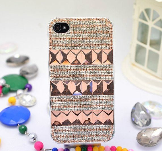 For Iphone 4s,5s Phone Case Bling Chain Gem Crystal Big Diamond Decoration Back Cover-LE0011X